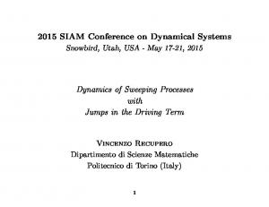 2015 SIAM Conference on Dynamical Systems Dynamics of Sweeping