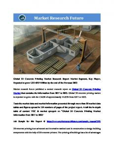 3D Concrete Printing Market Research Report - Global Forecast to 2023