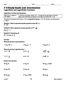 7-3 Study Guide and Intervention Logarithms and Logarithmic Functions