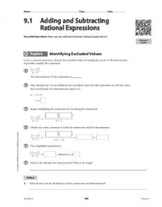 9.1 Adding and Subtracting Rational Expressions
