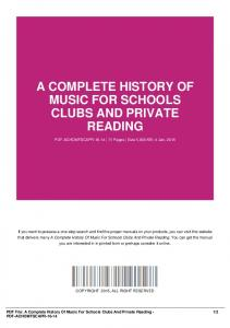 a complete history of music for schools clubs and