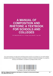 a manual of composition and rhetoric a textbook for