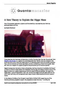 A New Theory to Explain the Higgs Mass