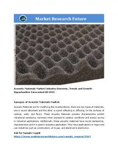 Acoustic Materials Market Information – by Material (PU Foam, Glass Fiber, ABS, Polypropylene, PVC and Others), by Application (Industrial, Residential, Commercial, Automotive Parts, HVAC, and Others) and Region- Forecast till 2023