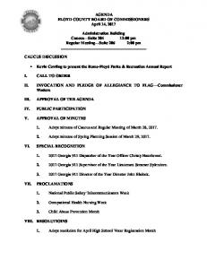 AGENDA FLOYD COUNTY BOARD OF COMMISSIONERS April 14