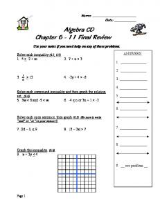 Algebra CD Chapter 6 - 11 Final Review
