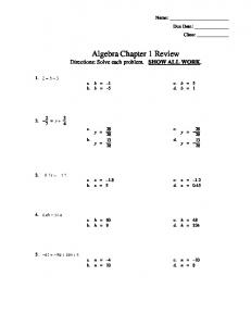 Algebra Chapter 1 Review