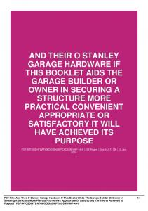 And Their O Stanley Garage Hardware If This Booklet