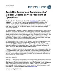 AntriaBio Announces Appointment of Michael Deperro