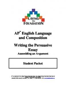 AP English Language and Composition Writing the