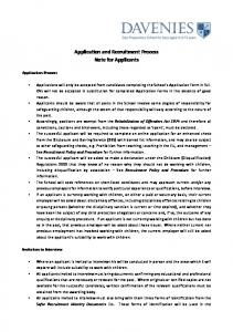 Application and Recruitment Process
