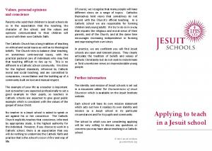 Applying to teach in a Jesuit school - Jesuit Institute
