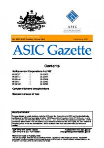 ASIC Gazette