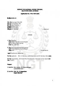BEFORE THE NATIONAL GREEN TRIBUNAL SOUTHERN ZONE