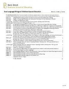 Bilingual Childhood Special Education