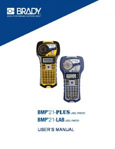bmp bmp user's manual - Your source for Brady Label printers, butt