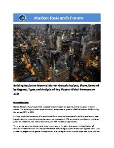 Building Insulation Material Market Information Report by Material (Stone wool, Glass wool, EPS, XPS, and others), by Application (Walls, Roofs, and Floors), by End-user (Commercial, and Residential), and by Region - Global Forecast To 2023