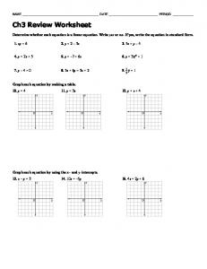 Ch3 Review Worksheet