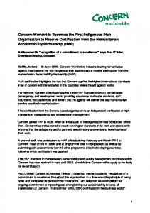 Concern Worldwide Becomes the First Indigenous Irish Organisation