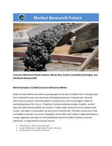 Concrete Admixtures Market Information-by Function (Plasticizers, Super Plasticizers, Air Entrainers, Accelerators, Retarders, Waterproofing Admixtures and others), by Application (Residential, Non-Residential and Infrastructure) and by Region - Forecast to 2022
