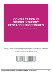 consultation in schools theory research procedures-pdf