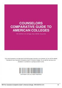 counselors comparative guide to american colleges