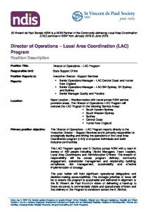 Director of Operations – Local Area Coordination (LAC