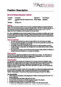 Early Childhood Education Teacher