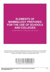 elements of mammalogy prepared for the use of schools and colleges