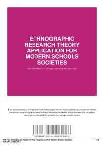 ethnographic research theory application for modern schools societies