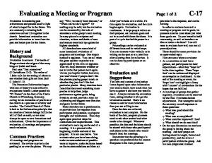 Evaluating a Meeting or Program