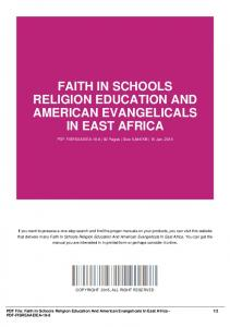 faith in schools religion education and american