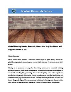 Flooring Market Information by Material (Carpets, Tiles, Vinyl & Rubber, Wood & Other), by Type (Soft covering, Resilient, Non-resilient & others), Application (Healthcare, Education, Hospitality, Retail and Sports) and by Region - Forecast to 2022