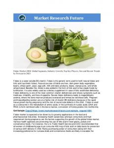 Folate Market Information: By Source (Natural Food Sources, Fortified Foods, Dietary Supplements), Type (Food Folate, Folic Acid, 5 Mthf Calcium Salt, 5 Mthf Glucosamine Salt), End-Use Industry (Food, Pharmaceutical), Region- Global Forecast To 2023