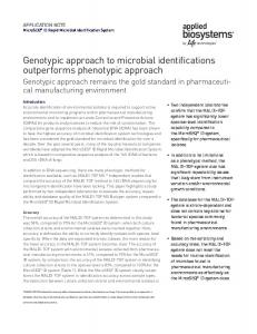Genotypic approach to microbial identifications outperforms