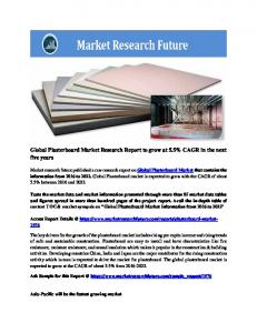 Global Plasterboard Market Research Report - Forecast to 2022