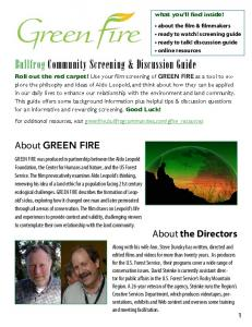 GREEN FIRE - Discussion Guide