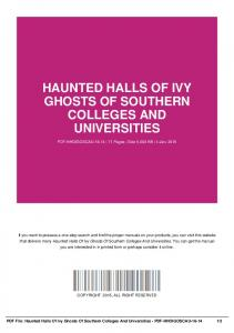 haunted halls of ivy ghosts of southern colleges and