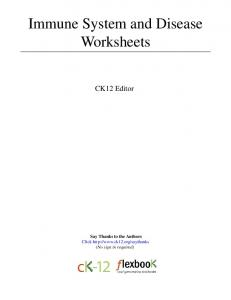 Immune System and Disease Worksheets