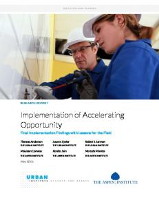 Implementation of Accelerating Opportunity: Final ... - Urban Institute