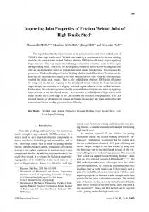 Improving Joint Properties of Friction Welded Joint of High ... - J-Stage