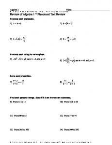 Infinite Algebra 1 - Review of Algebra 1 * Placement Test Review