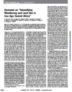 Intensifying Weathering and Land Use in Iron Age Central ... - Science