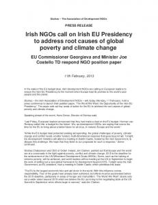 Irish NGOs call on Irish EU Presidency to ... - Concern Worldwide