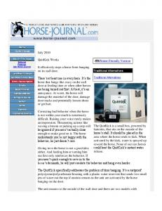July 2010 QuitKick Works It effectively stops a horse ... - Dover Saddlery