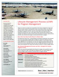 Lifecycle Management Process (LCMP) for Program