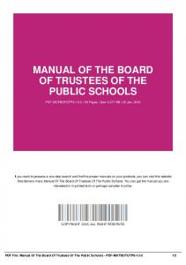 manual of the board of trustees of the public schools