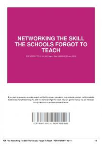 networking the skill the schools forgot to teach-pdf