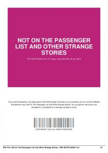 not on the passenger list and other strange stories-pdf