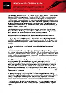 NSWCCL submission re organ harvesting